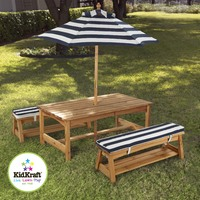 Kidkraft Outdoor Table and Bench Set with Cushion and Umbrella