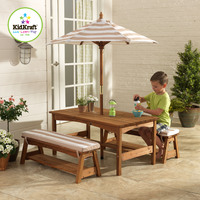 Kidkraft Outdoor Table and Bench Set with Cushions & Umbrella - Oatmeal & White Stripes (Disc.)