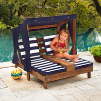 Kidkraft Double Chaise Lounge with Cup Holders - Espresso with Navy & White Stripes