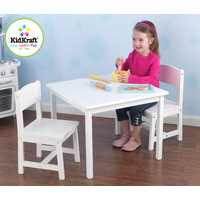 Aspen Table and  2 Chair Set - White