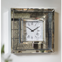 Silver Framed Mirror Wall Clock (Ready To Hang)