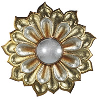 Golden Flower Metal Wall Art With Acrylic Mirror
