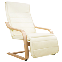 Birch Bentwood Adjustable Lounge Arm Chair w/ Fabric Cushion Beige