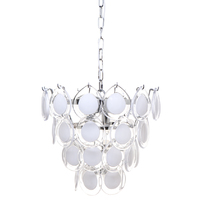 Brigitte White Glass Discs Pendant - Medium
