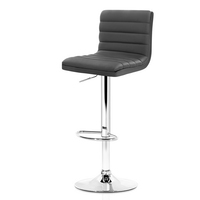 Artiss 2x Gas lift Bar Stools Swivel Kitchen Chairs Leather Chrome Grey