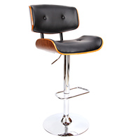 PU Leather Bar Stool with Chrome Base Black