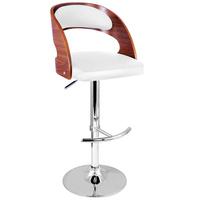 PU Leather Wooden Kitchen Bar Stool Padded Seat - White