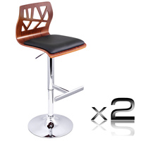 Set of 2 PU Leather Wooden Kitchen Bar Stool Padded Seat - Black