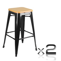 Set of 2 Replica Tolix Kitchen Bar Stool Bamboo Seat 66cm - Black