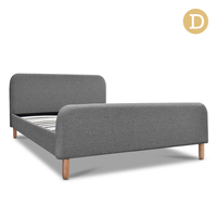Double Linen Fabric Bed Frame Grey