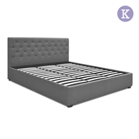 King Gas Lift Fabric Bed Frame with Headboard