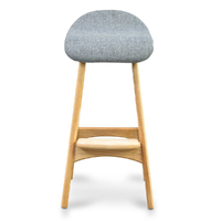 Buch Stool Light Grey Fabric + Natural