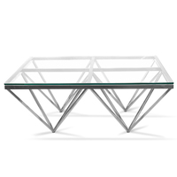 Tafari 1.05m Coffee Table - Glass Top - Silver Stainless Steel Base