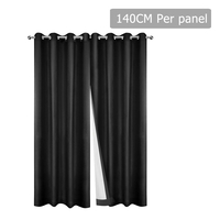 Set of 2 140CM Blockout Eyelet Curtain – Black