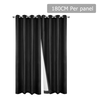 Set of 2 180CM Blockout Eyelet Curtain – Black