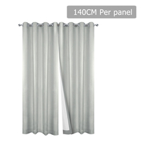 Set of 2 140CM Blockout Eyelet Curtain – Ecru