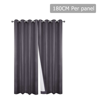 Set of 2 180CM Blockout Eyelet Curtain – Grey