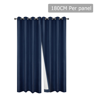 Set of 2 180CM Blockout Eyelet Curtain – Navy