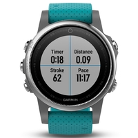 Garmin Fenix 5S Silver with Turquoise Band Multisport GPS Watch Only