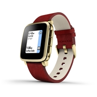 Pebble Time Steel Smartwatch for Apple/Android Devices - Red + Gold
