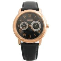 Seiko Men's Quartz Watch with Black Dial Analogue Display Quartz Leather SGN012P1