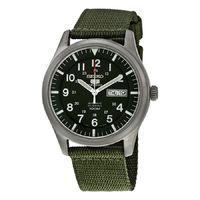 Seiko Seiko 5 Men's Sport Analog Automatic Khaki Green Canvas Watch SNZG09K1