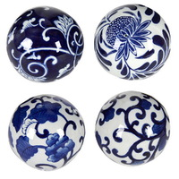 Blue & White Decorator 4 Balls