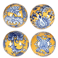 Blue & Yellow decorator balls 10x10x10cmh