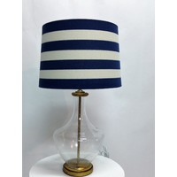 Admiral Lamp with Blue & White stripe shade