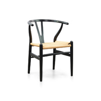 Replica Wishbone Cord Chair by Hans Wegner -Black - Natural Seat