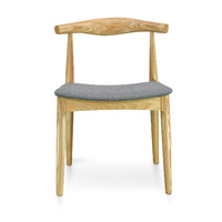CH20 Elbow Dining Chair - Hans Wegner Replica- Natural with Light Grey Fabric Seat