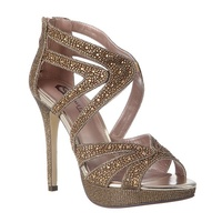 Pewter evening-diva bronze sandals