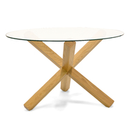 Doreen Round Dining Table - glass top