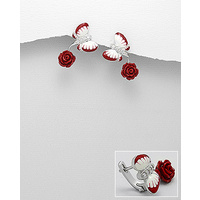 Butterfly and rose - Sterling silver coloured enamel earings decorated with CZ stone