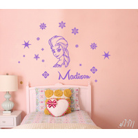 ELSA Inspired, Snowflakes & Personalised Name Removable wall sticker