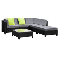 6 pcs Black Wicker Rattan 5 Seater Outdoor Lounge Set Grey