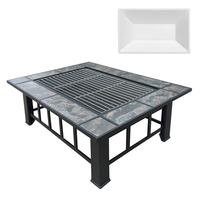 Grillz Fire Pit BBQ Grill Stove Table Ice Pits Patio Fireplace Heater 3 IN 1