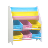 Keezi Kids Bookcase Childrens Bookshelf Toy Storage Organizer 2 Tiers Shelves