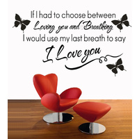 I LOVE YOU ...Wall Quote Vinyl Decal