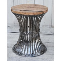 Inverted Wood And Iron Stool  (NEW COLLECTION)
