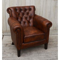 Chocolate Leather Arm Chair  (NEW COLLECTION)