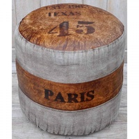 Vintage Round canvas Ottoman - TEXAS PARIS 45