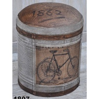Vintage Round Canvas Ottoman - bicycle print