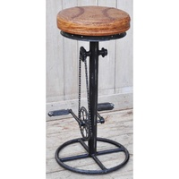 Industrial Bicycle-like Bar stool with leather seat