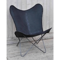 Hand made hand crafted  BUTTERFLY black leather Chair