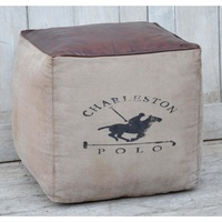 Vintage canvas square ottoman -CHARLESTON POLO print