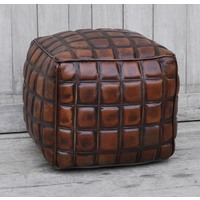 Checkered Leather Ottoman  (NEW COLLECTION)