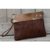 Classic Cowhide Zip Clutch Bag  (NEW COLLECTION)
