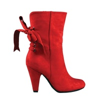 Montana red boots -Tie-back ribbon accent