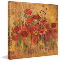 Floral Frenzy Red VI Canvas Art Print
